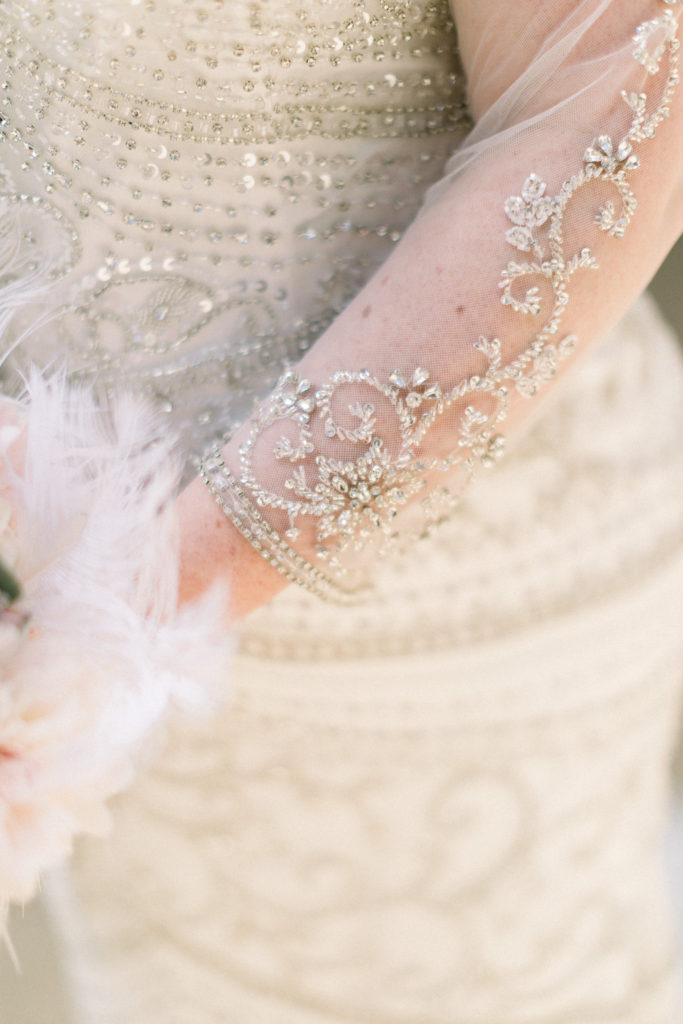 beaded long sleeve wedding dress