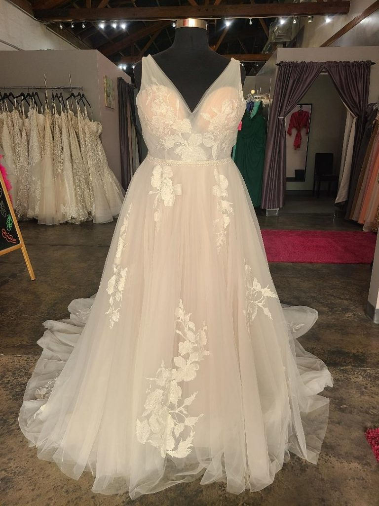 champagne aline lace and tulle plus size wedding dress