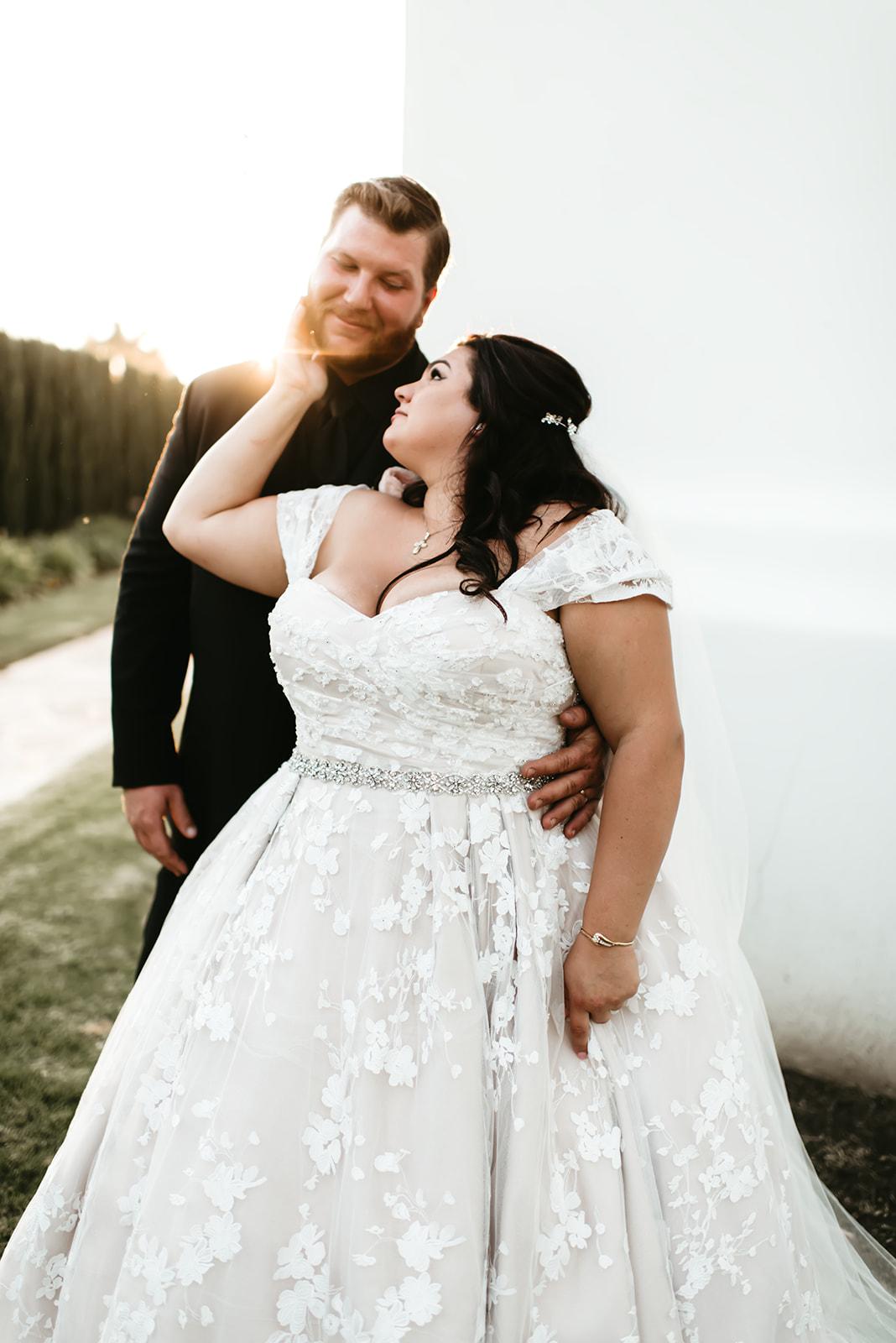 Katrina's Blush Lace Ballgown Wedding Dress