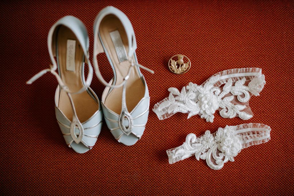 wedding shoes and garter