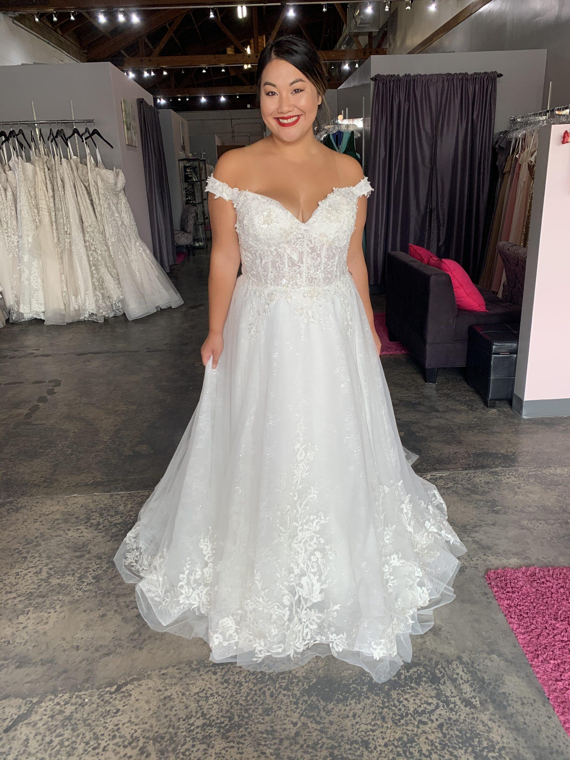 off the shoulder romantic plus size wedding dress