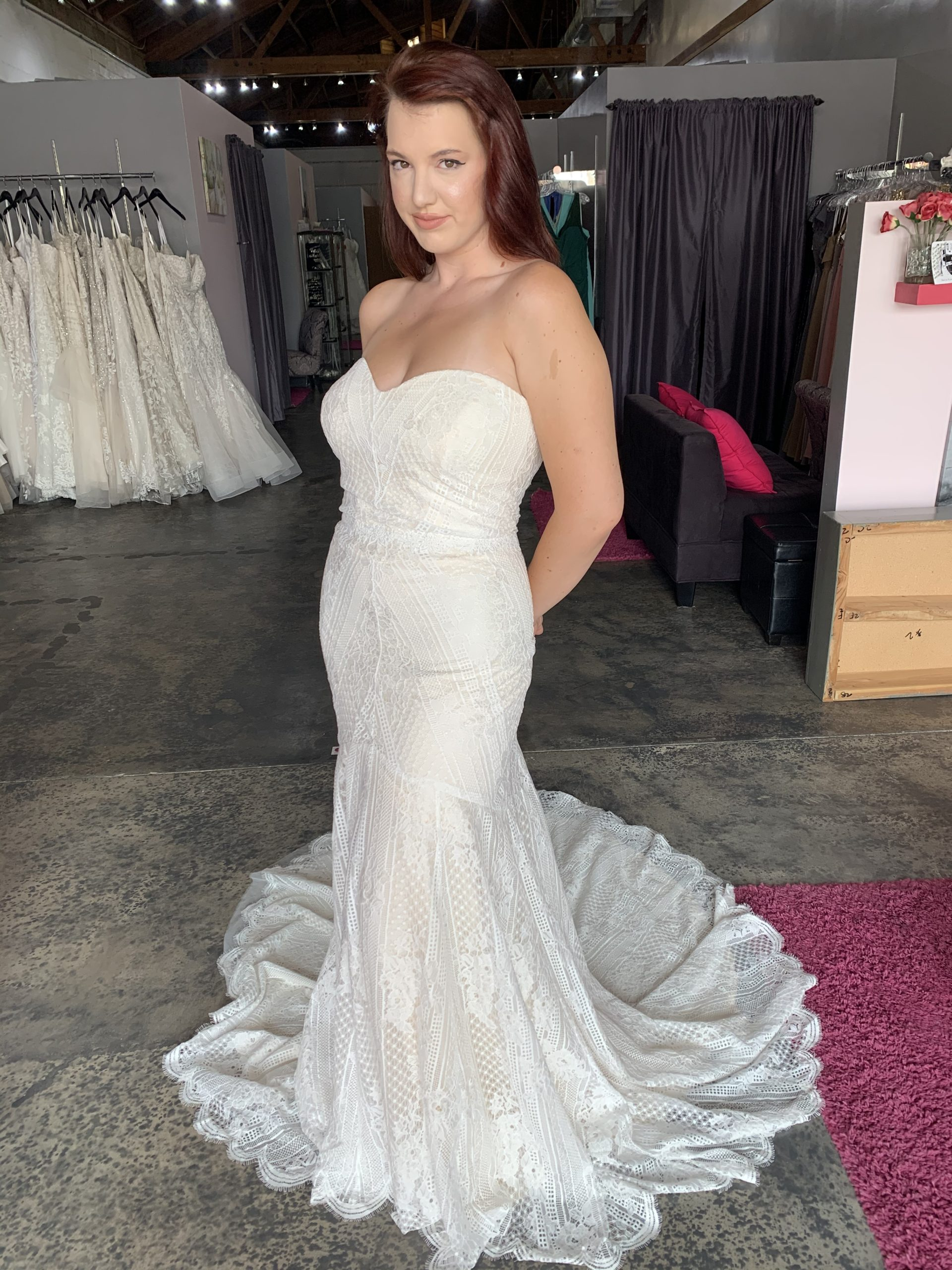strapless plus size boho lace wedding dress