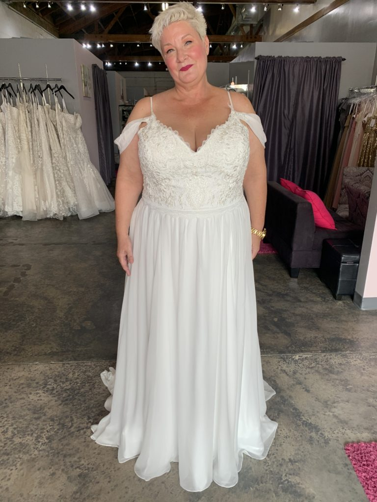 off the shoulder plus size chiffon wedding dress
