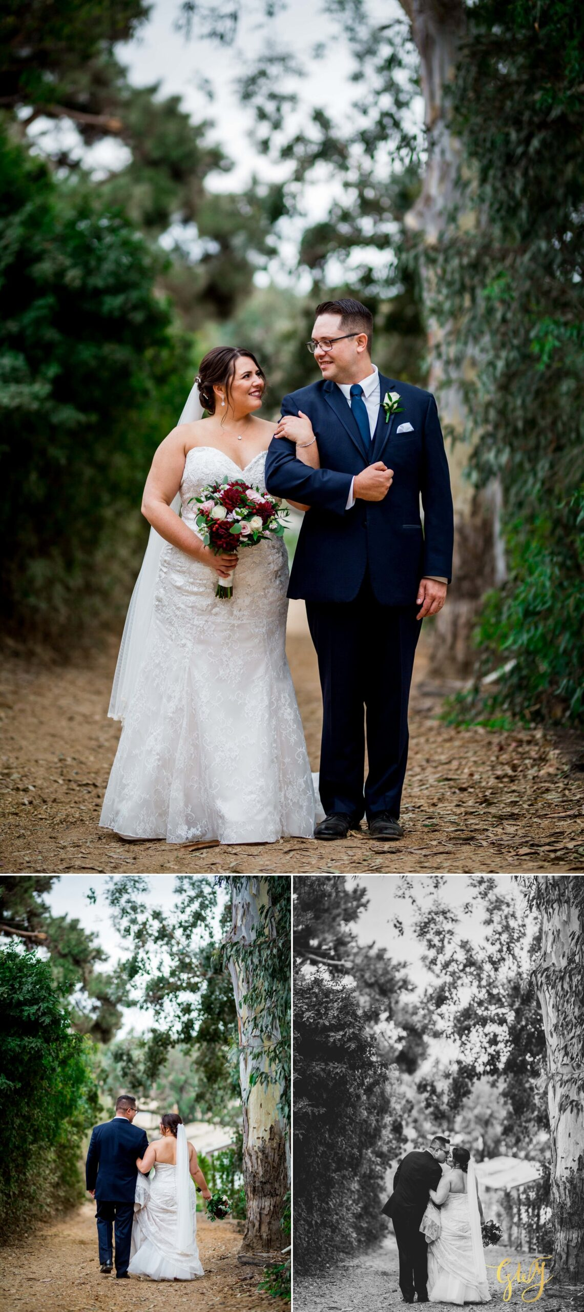 plus size bride wearing lace mermaid wedding dress with groom in suit