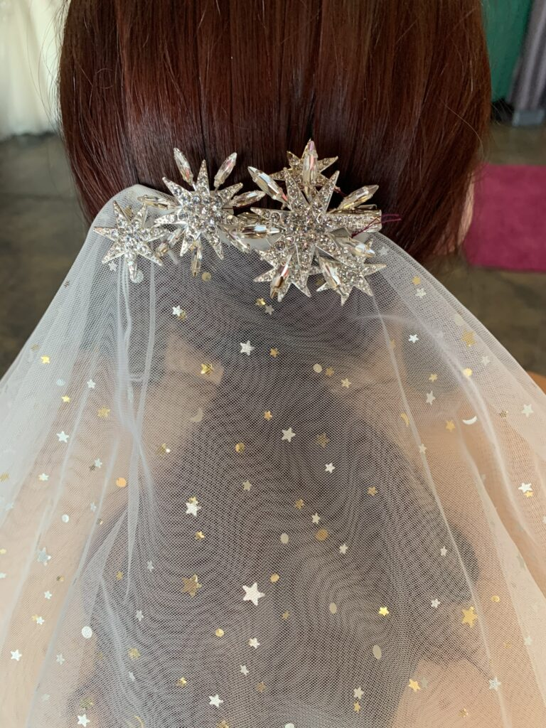 Sparkle moons and space gold and silver veil with rhinestone star hair piece in long beach california