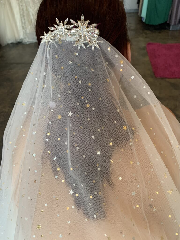Mid length gold and silver moon and stars veil with constellation rhinestone headpiece in long beach California