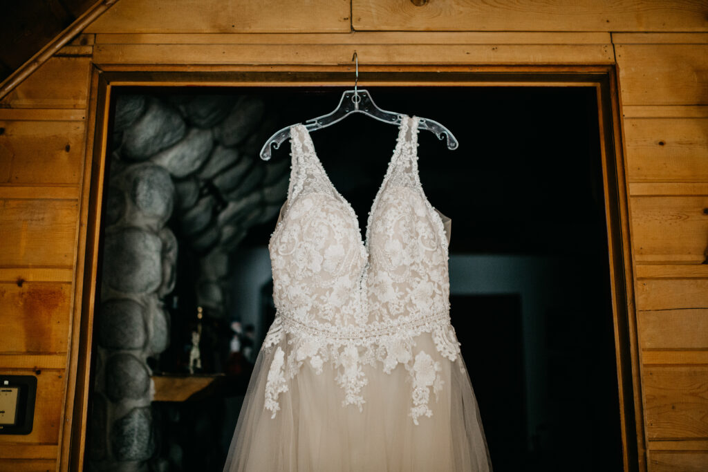 Champange with ivory floral detail on bodice lace wedding dress