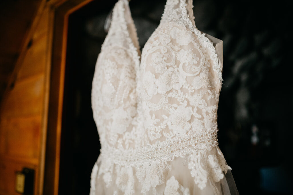 Ivory floral embroidery on a-line style wedding dress with V neck champagne underlay