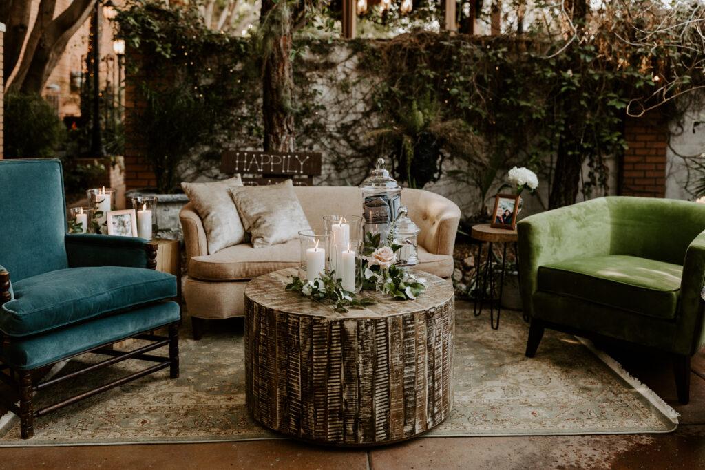 outdoor wedding reception set up