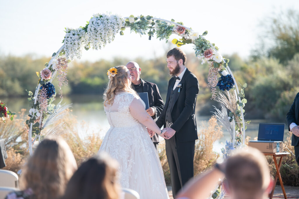 gilbert outdoor wedding ceremony with circle arch