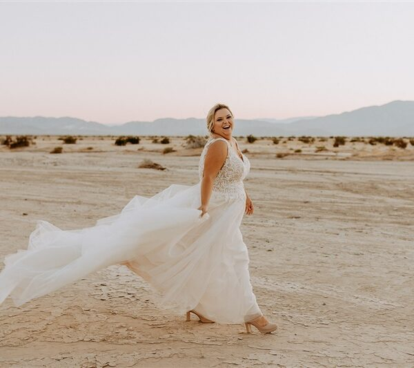 Cari's Desert Chic Wedding and Gown with Slit