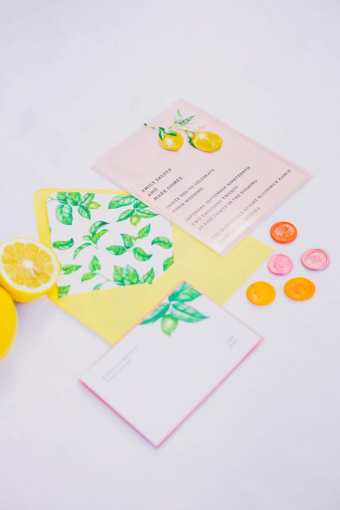 citrus inspired wedding invitations