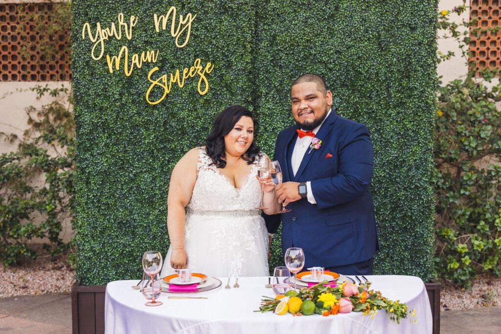 plus size couple sweetheart table wedding