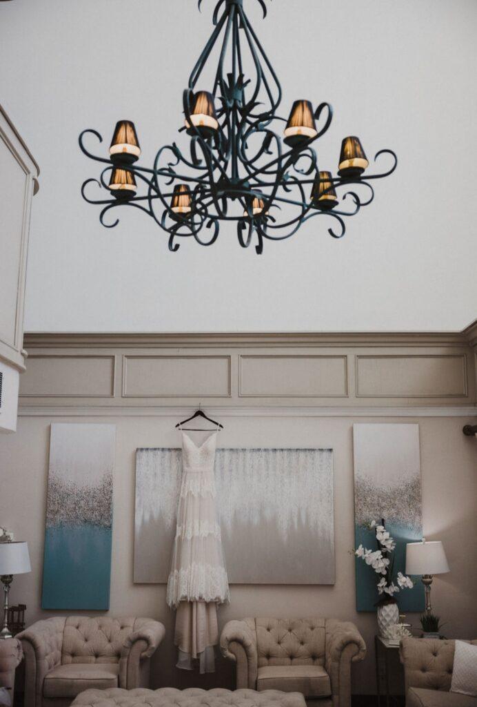 wedding dress photo with chandelier