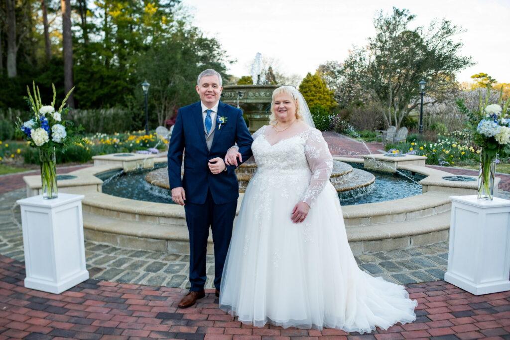 newlywed older couple bride