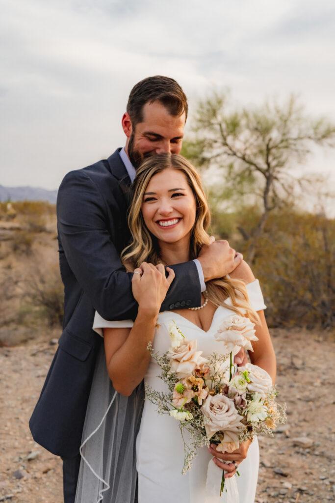 wedding couple hugging phoenix arizona