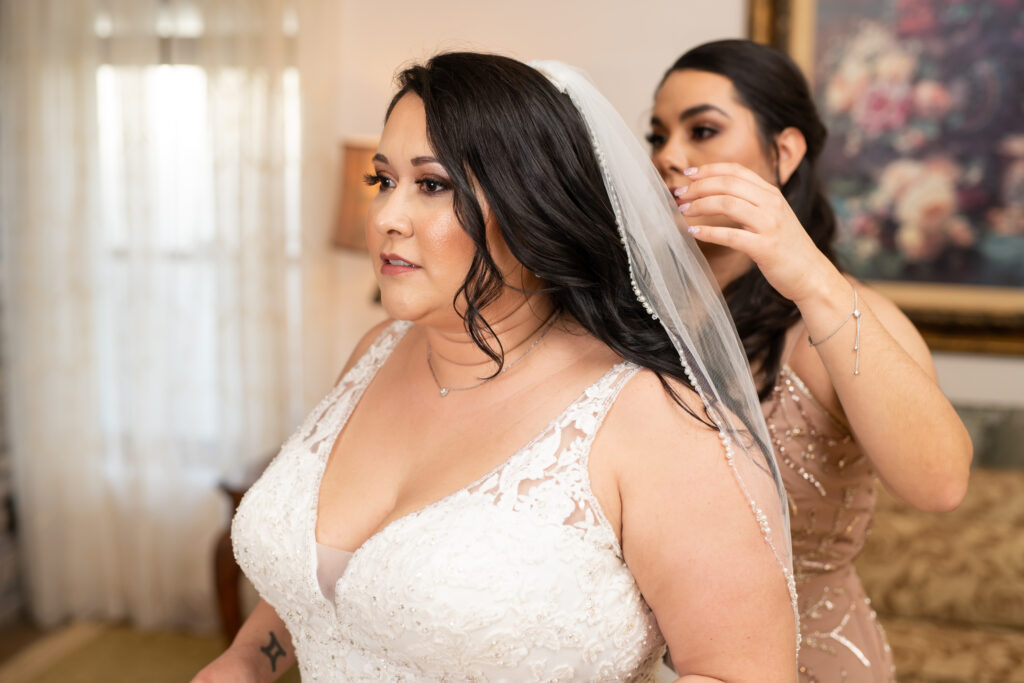 beautiful bride with long hair wearing vneck wedding dress and veil