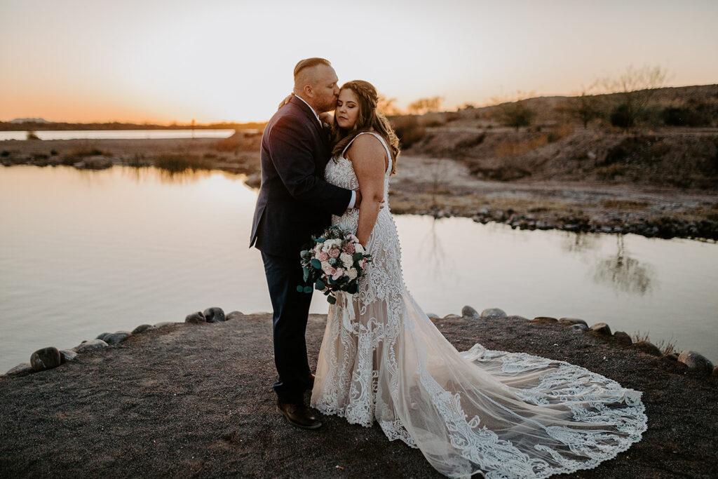 sunset bridal portrait with plus size bride