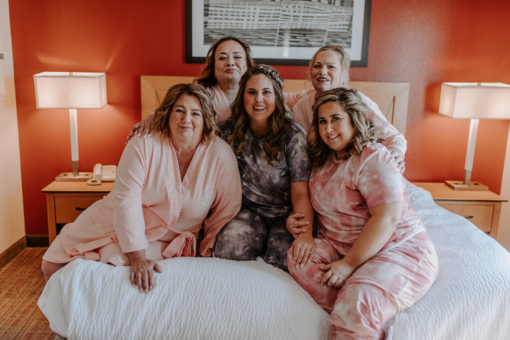 bride and bridesmaids in matching pjs
