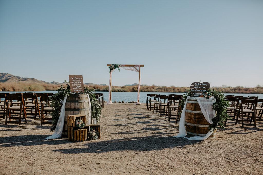 rustic lakeside wedding venue hidden lake arizona