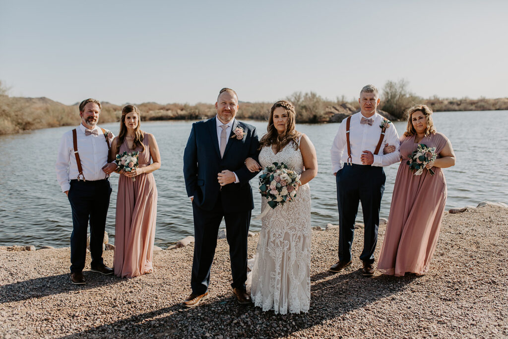 wedding party by lake in arizona