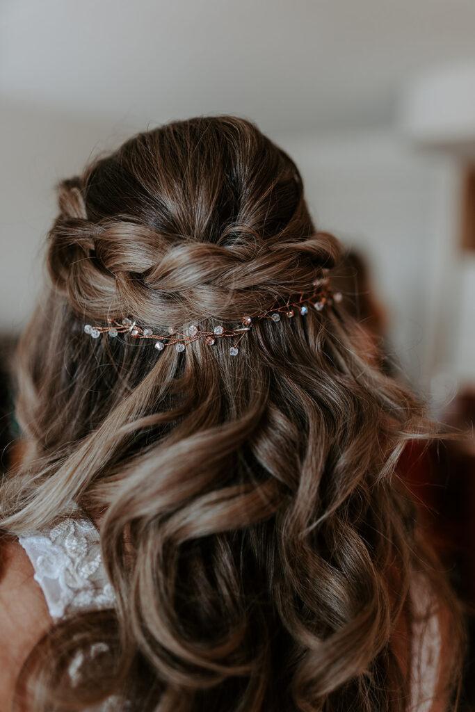 braided wedding hairstyle with hair vine