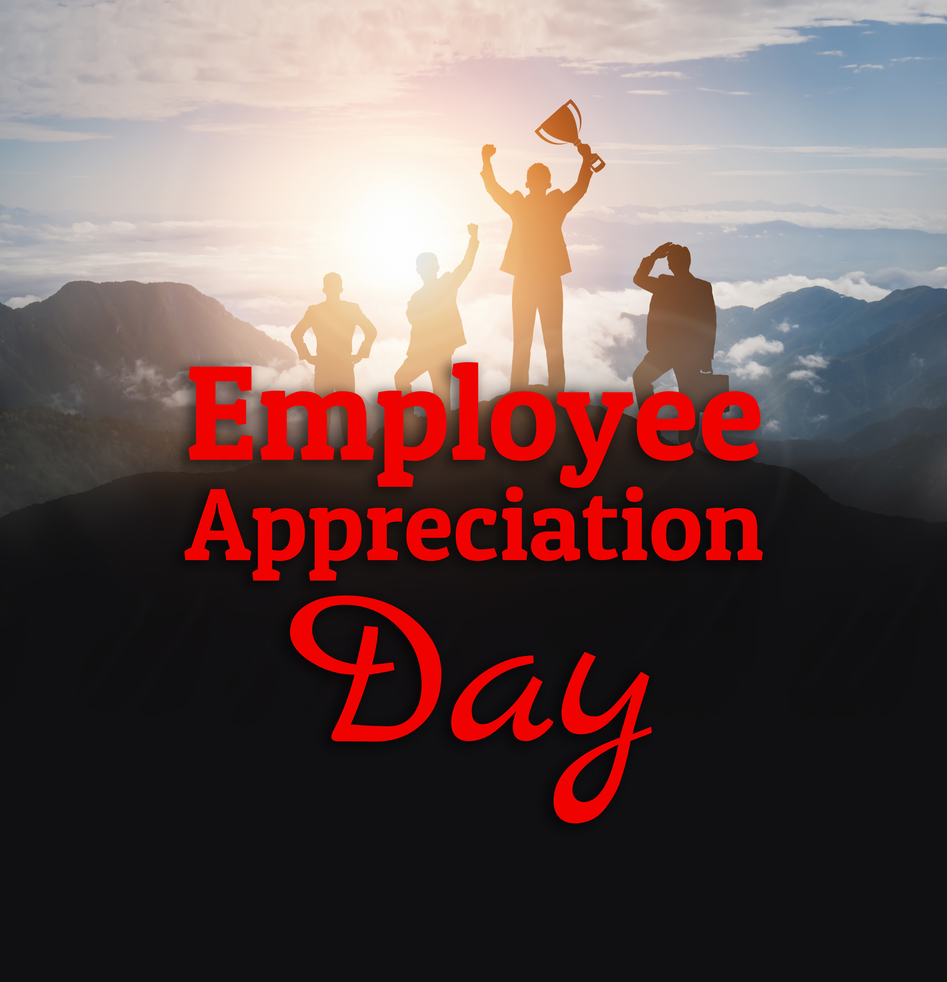 illustration of people climbing a mountain behind the label Employee Appreciation Day
