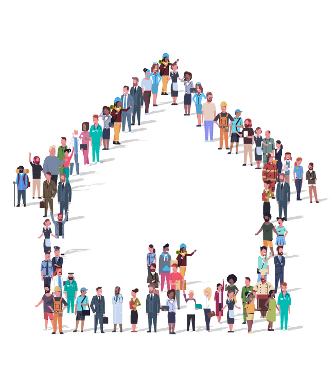 Illustration of diverse people in the community lined up in the shape of a house icon