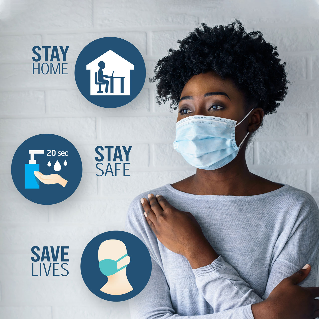 Portrait of young African-American woman wearing disposable medical face mask