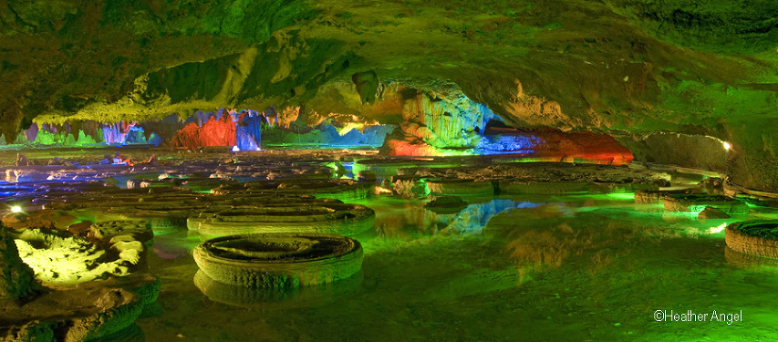 A few of the circular basins in a shallow lake within the unique Green Lotus Cave at Xingping in China December 2007