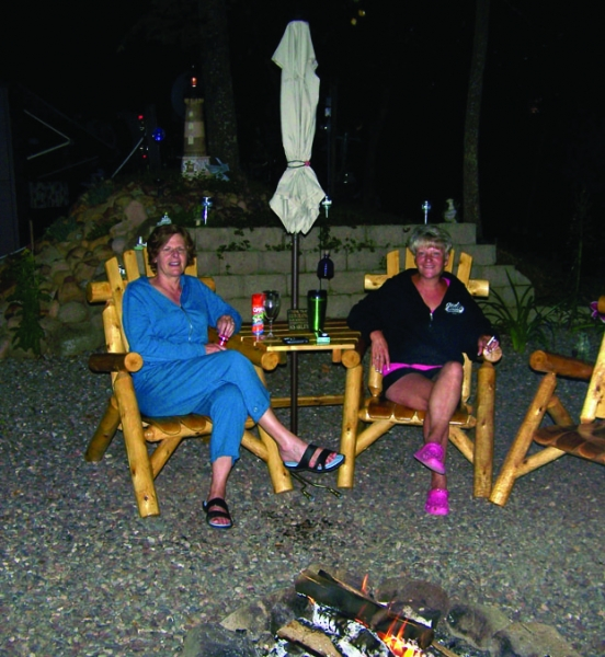 Relaxing by the fire, Birchwood Beach Resort, Frederic, WI