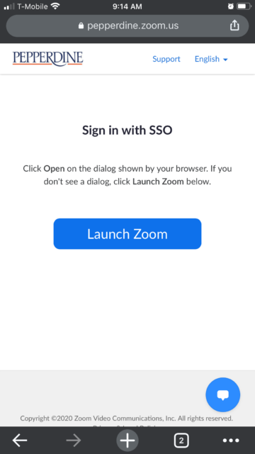 Select Launch Zoom