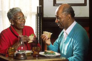 Elderly Couple Eating