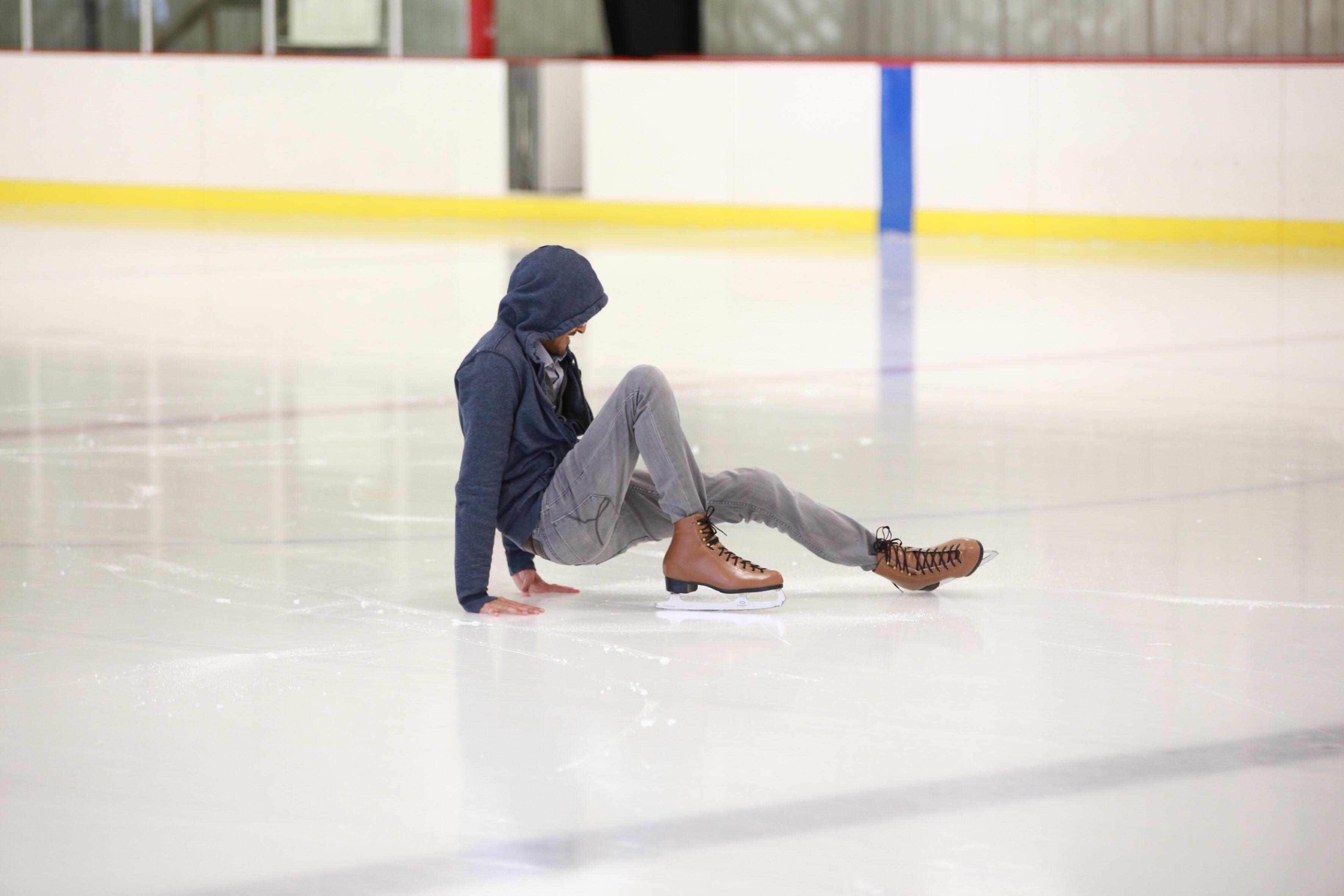 Employees enjoying ice skating day