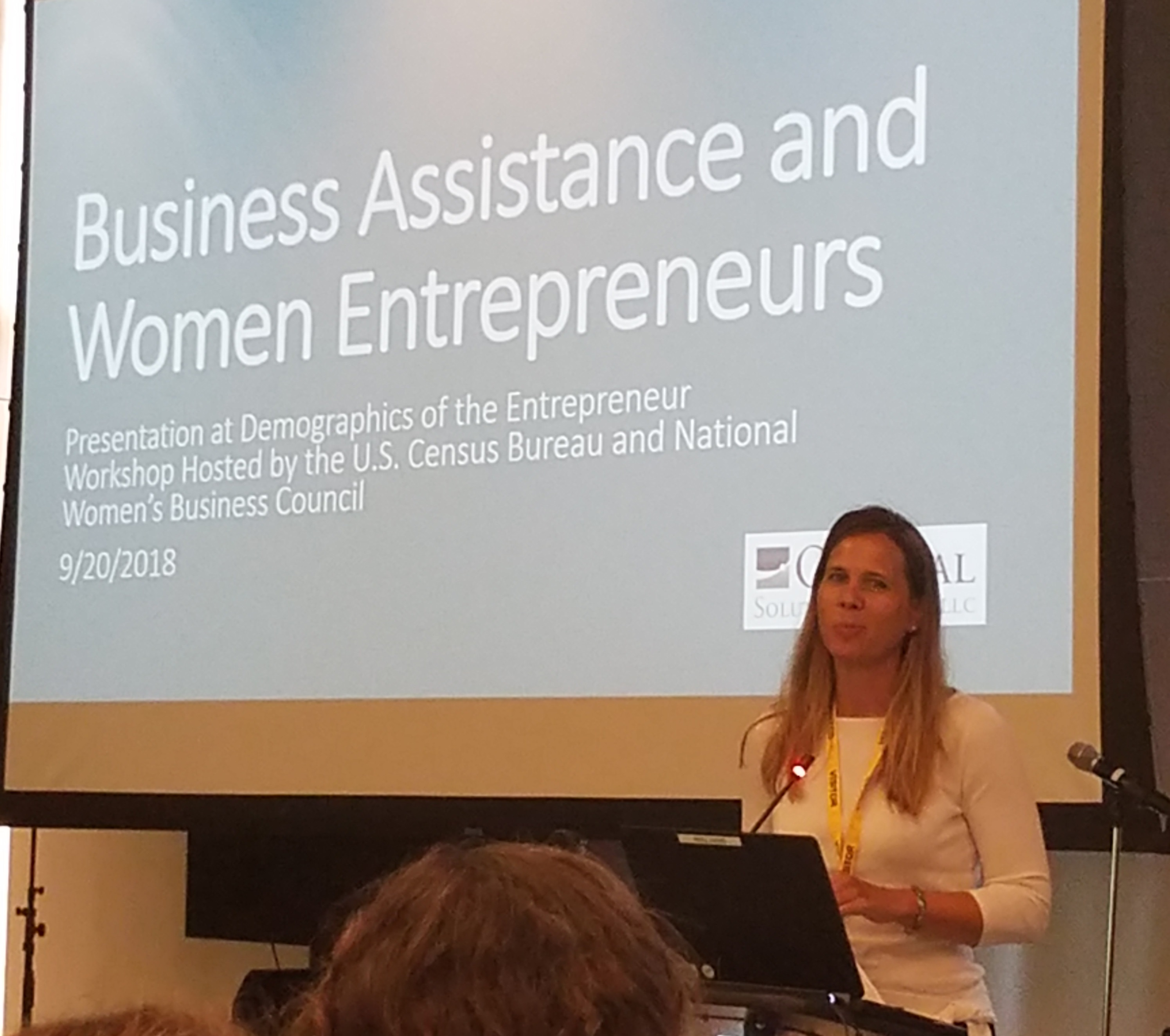 Dr. Jennifer Auer presents findings on women's entrepreneurship at the Demographics of the Entrepreneur Workshop in Suitland, Md.