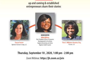 """Entrepreneurship Matters"" is a conversation with local up and coming and established entrepreneurs. Date: Thursday, September 10, 2020, 1 PM to 2 PM. Speakers: Tracye Turner, Tina C.Williams-Koroma, Esq. Moderator: Alicia Wilson."