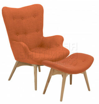 Replica Grant Featherston Chair and Ottoman Orange