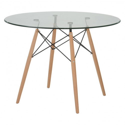Replica Charles Eames Round 100cm Glass Dining Table