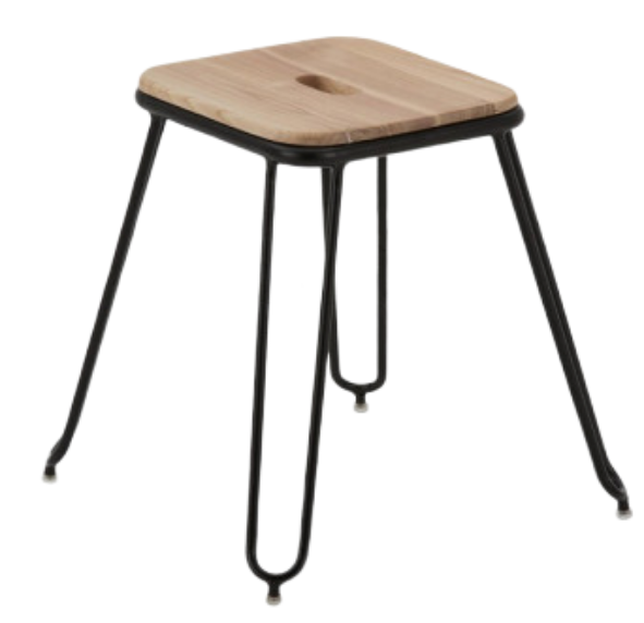 Retro Metal Wood Loop Stool