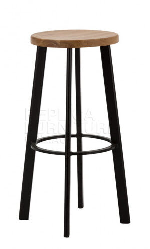Replica Deja-vu Bar Stool 75cm - Black with Wood Seat