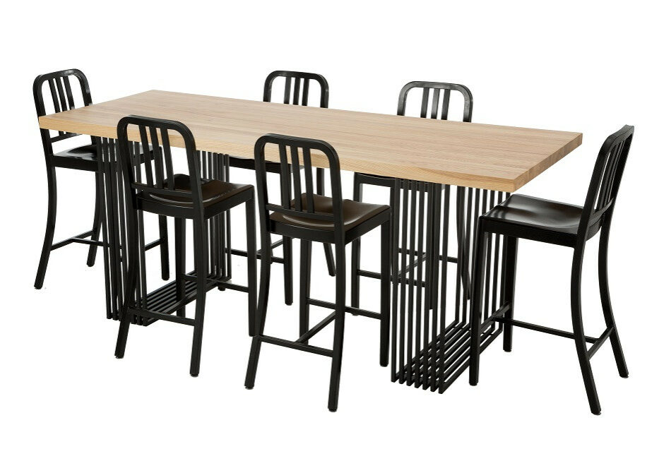 Alteri Bar Table with Replica US Navy Stools