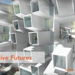 Alternative Futures poster image of futuristic housing complex