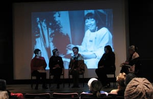 Panelists: Flo Wong, Lenore Chin, Alexa Young, Kim Anno, Moira Roth Slide image of Bernice Bing