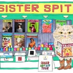 Poster of Sister Spit. A cartoon image of a funky book store