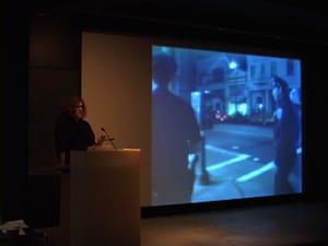 "Susan Stryker screening clip from ""Screaming Queens."""