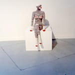 Liz Collins Sock Monkey Suit (2008) Knitted and stitched merino wool, angora, silk, cashmere Human scale