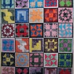 Nora Renick-Rinehart and Nellie Kurz The Code Quilt (2008) Cotton bandannas, thread, yarn, hand and machine made quilting Queen sized
