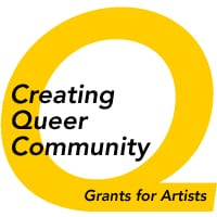 Yellow Q with text that says Creating Queer Community Grants for Artists