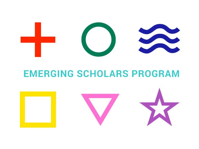 Graphic red plus sign, green zero, blue waves, yellow square, pink triangle, purple star. Text says Emerging Scholars Program