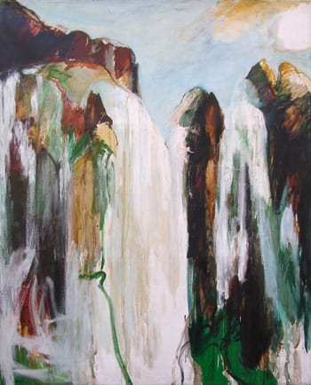 """1. Bing, Bernice. Burney Falls. 1980. Oil on Canvas, 96 x 77 3/4"""". Collection of the Artist."""